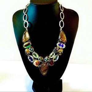 Huge Silver Necklace w/ Various Bezel Set Stones